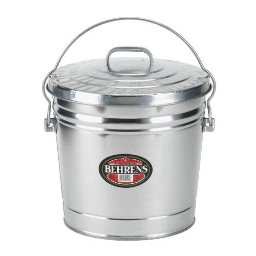 6 Gal. Galvanized Steel Round Trash Can with Locking Lid, Silver Metallic