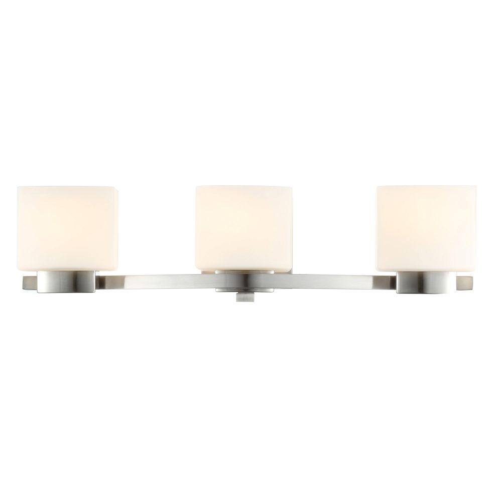 medium resolution of hampton bay 3 light brushed nickel vanity light with etched white glass shades