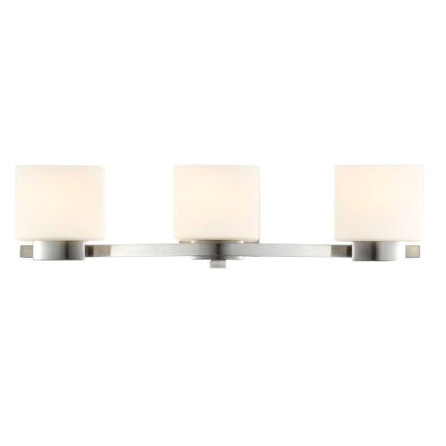 small resolution of hampton bay 3 light brushed nickel vanity light with etched white glass shades