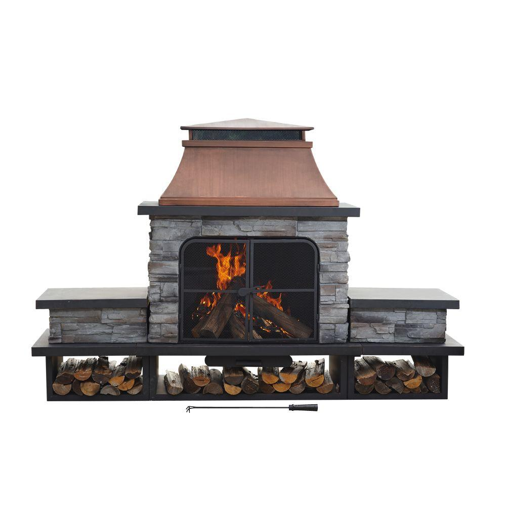 Sunjoy Seneca 51 in. Wood Burning Outdoor Fireplace