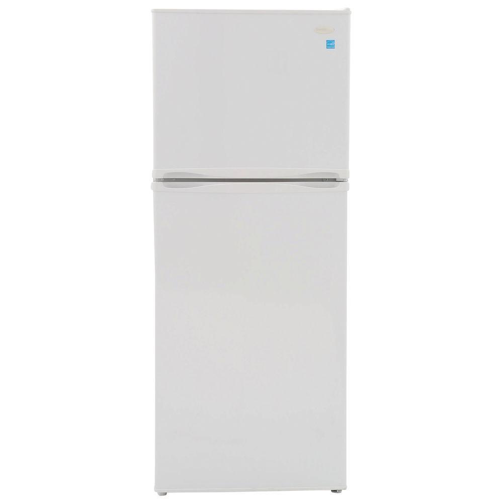 medium resolution of top freezer refrigerator in white cabinet depth