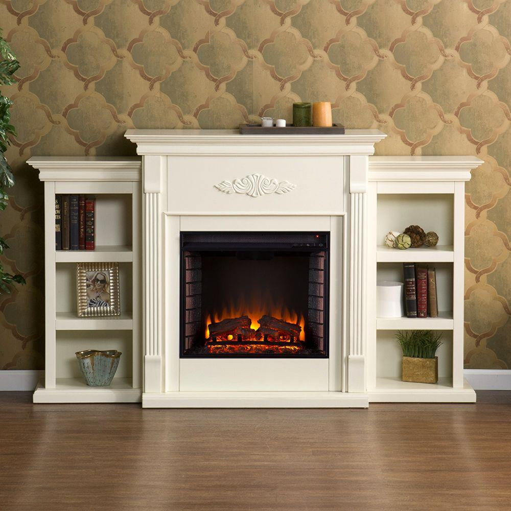 Southern Enterprises Jackson 7025 in Freestanding Electric Fireplace in Ivory with Bookcases