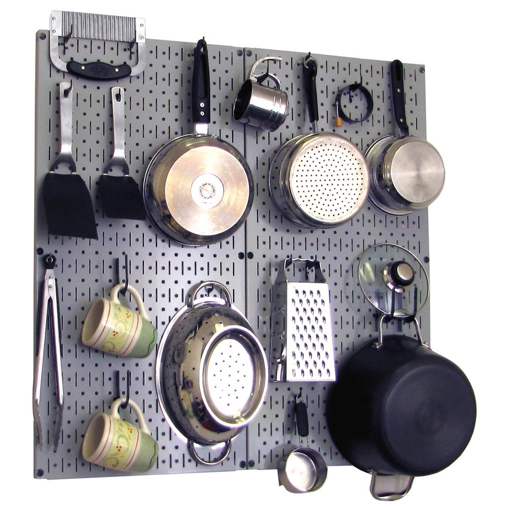 kitchen pegboard remodel kitchens wall control 32 in x metal peg board pantry organizer