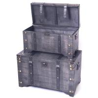 Vintiquewise Distressed Black Large Wooden Storage Trunk ...