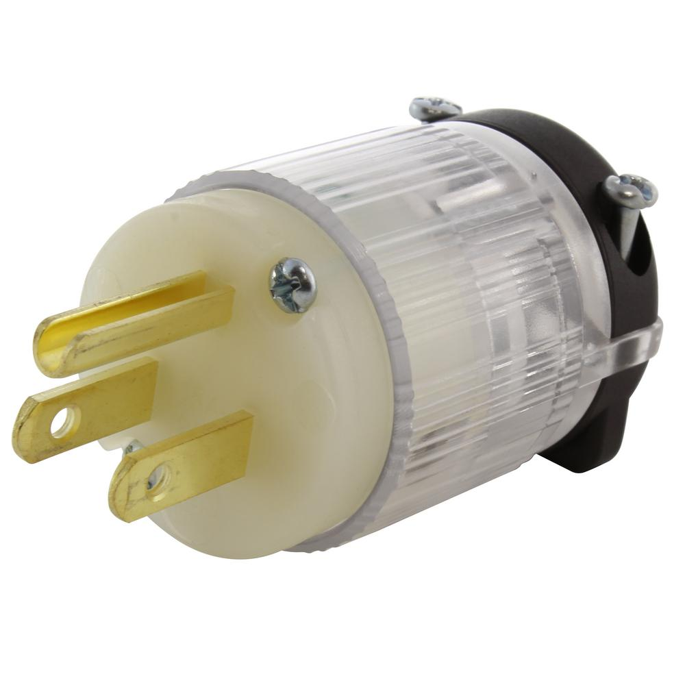 medium resolution of 15 amp 125 volt nema 5 15p 3 prong household male plug with power indicator