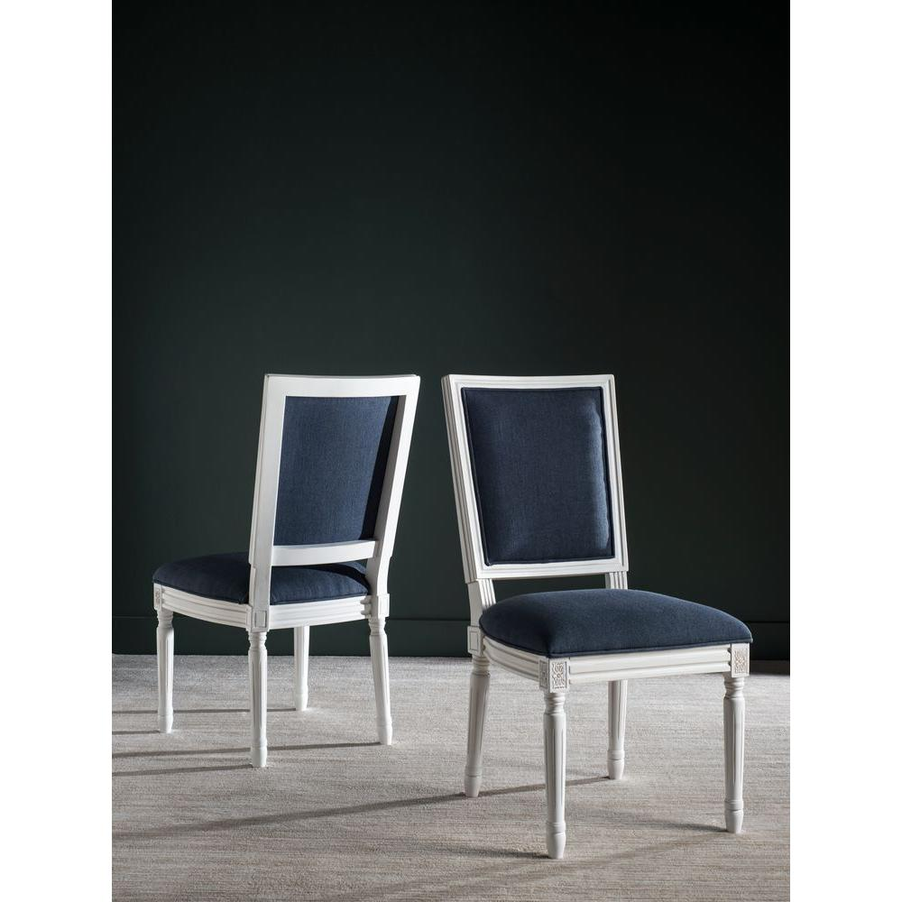 navy blue dining chairs set of 2 cynthia rowley upholstered safavieh buchanan and cream linen chair