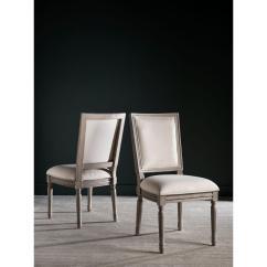 Safavieh Dining Chairs Chair Exercise Video Buchanan Light Beige Linen Fox6229h Set2 The Home Depot