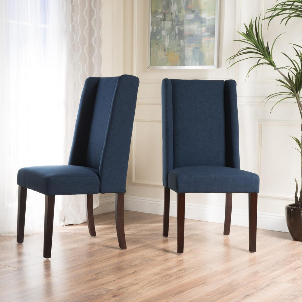 Blue Dining Chairs Noble House Braelynn Navy Blue Fabric Wing Back Dining Chair Set