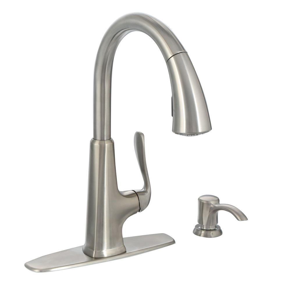 kitchen faucets stainless steel cabinet makeovers pfister pasadena single handle pull down sprayer faucet with soap dispenser in