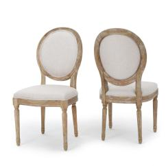 Beige Dining Chairs Purple Velvet Chair And A Half Noble House Phinnaeus Fabric Set Of 2 300258