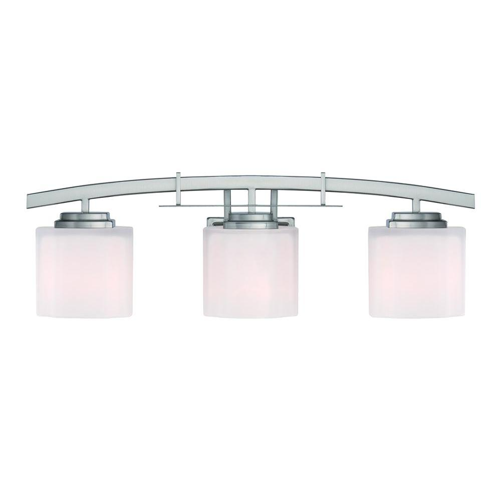 medium resolution of hampton bay architecture 3 light brushed nickel vanity light with etched white glass shades