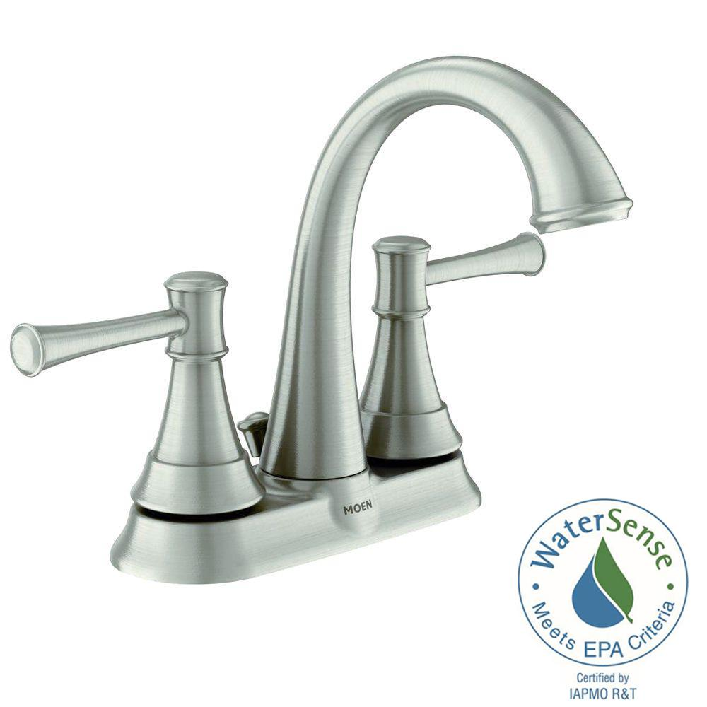 MOEN Ashville 4 in Centerset 2Handle Bathroom Faucet with Microban Protection in Spot Resist
