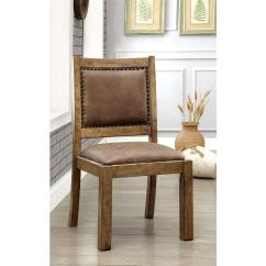 Cottage Style Chairs Hair Stylist Gianna Rustic Pine And Brown Side Chair Cm3829sc 2pk The Home Depot