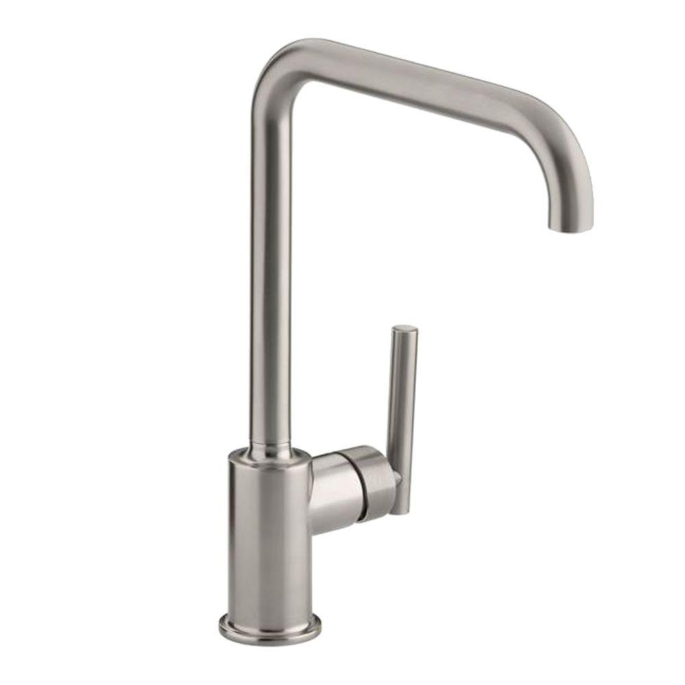 kitchen faucet spout island with range kohler purist primary swing single handle standard without spray in vibrant stainless