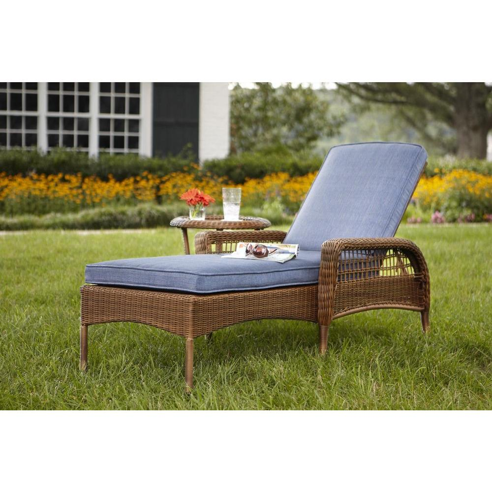 spring haven brown all weather wicker patio sofa linen covers nz hampton bay outdoor chaise lounge with sky blue