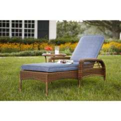 Home Depot Lounge Chairs Accent Chair Ottoman Outdoor Chaise Lounges Patio The Spring Haven Brown All Weather Wicker With Sky Blue Cushions