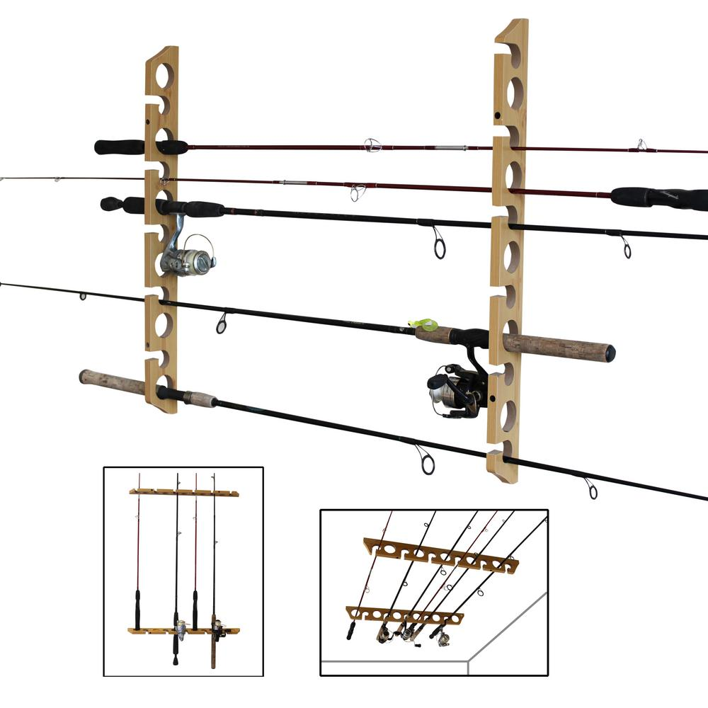 medium resolution of 11 fishing rod versatile 3 in 1 wall and ceiling storage rack