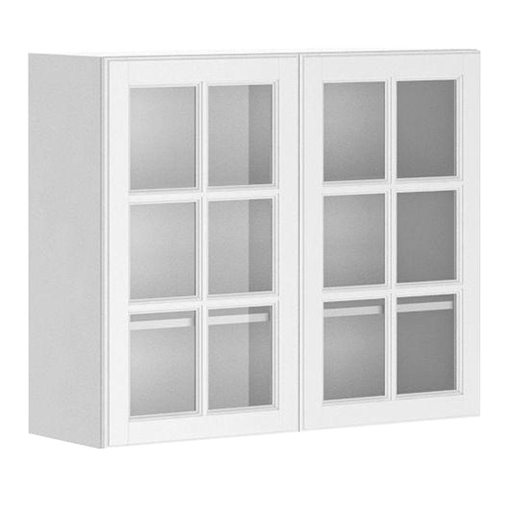 white kitchen cabinets glass doors painted gray eurostyle ready to assemble 36x30x12 5 in birmingham wall cabinet melamine and