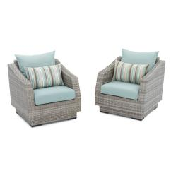 Patio Club Chair Table And Chairs Toys R Us Rst Brands Cannes With Bliss Blue Cushions 2 Pack