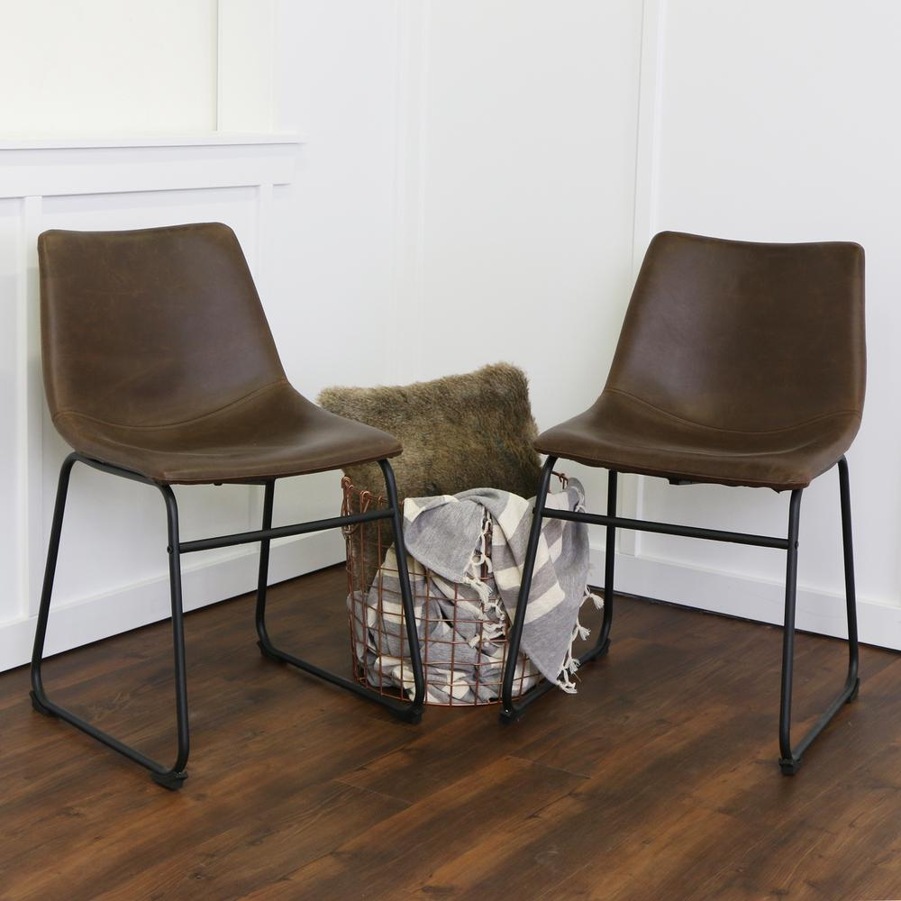 leather dining chairs white chair with nailheads walker edison furniture company wasatch brown faux set of 2