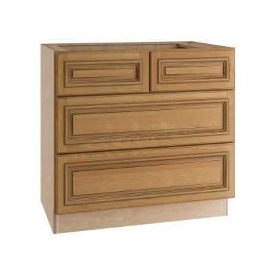raised panel kitchen cabinets pub table set birch light brown 4 drawers base cabinet in toffee glaze