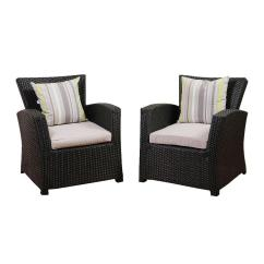 Wicker Patio Chair Set Of 2 Positive Posture Vaya - Black Amazonia Atlantic Piece Bradley Synthetic Armchair With Light Grey Cushions