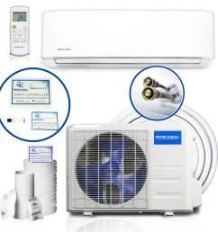 diy enhanced 34 400 btu ductless mini split air conditioner and heat pump 208 230v 60hz [ 1000 x 1000 Pixel ]