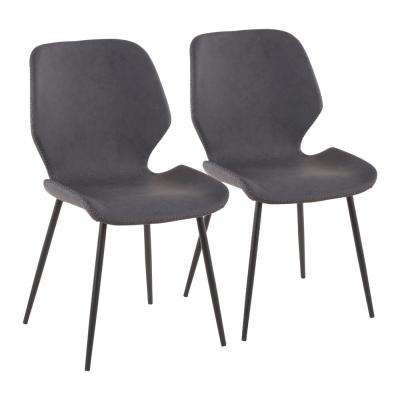 faux leather dining chairs nursery rocking chair walmart metal gray kitchen room black industrial serena with grey set of 2