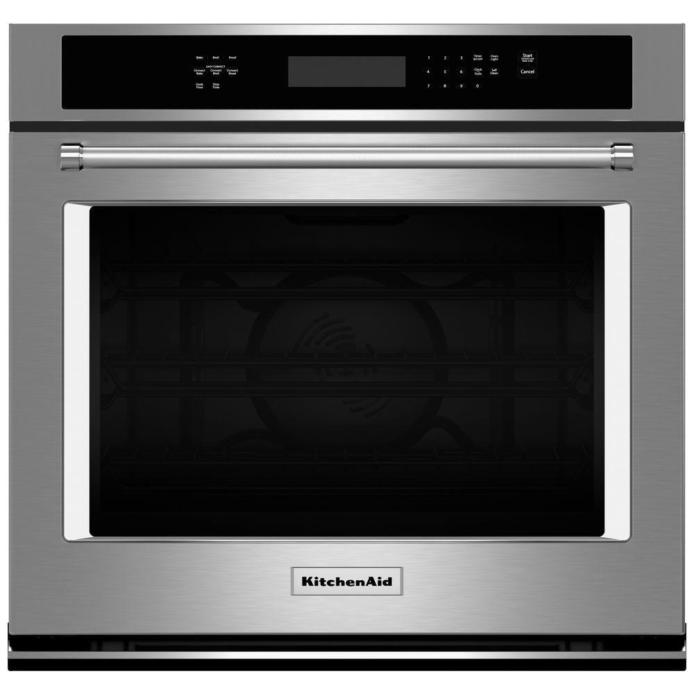 kitchen aid wall oven top cabinets kitchenaid 30 in single electric self cleaning with convection stainless steel