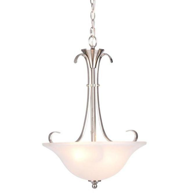 Santa Rita 2 Light Brushed Nickel Inverted Pendant With Glass Shade