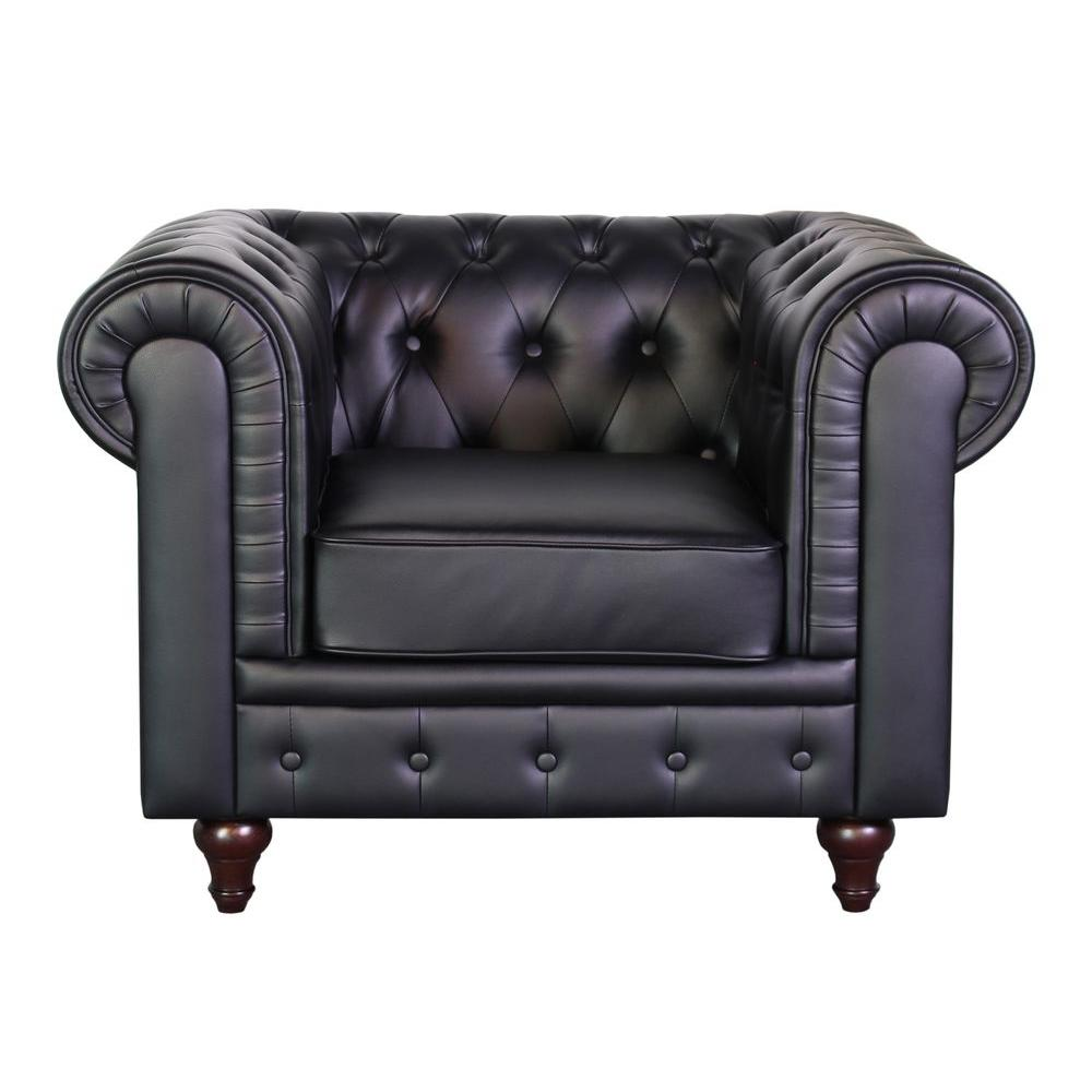 white tufted chair pottery barn office grace chesterfield bonded leather button black s5068 c the home depot