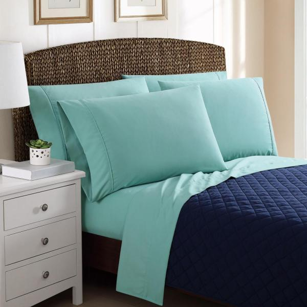 6-piece Solid Turquoise Queen Sheet Sets-ss1736tuqn-4700 - Home Depot