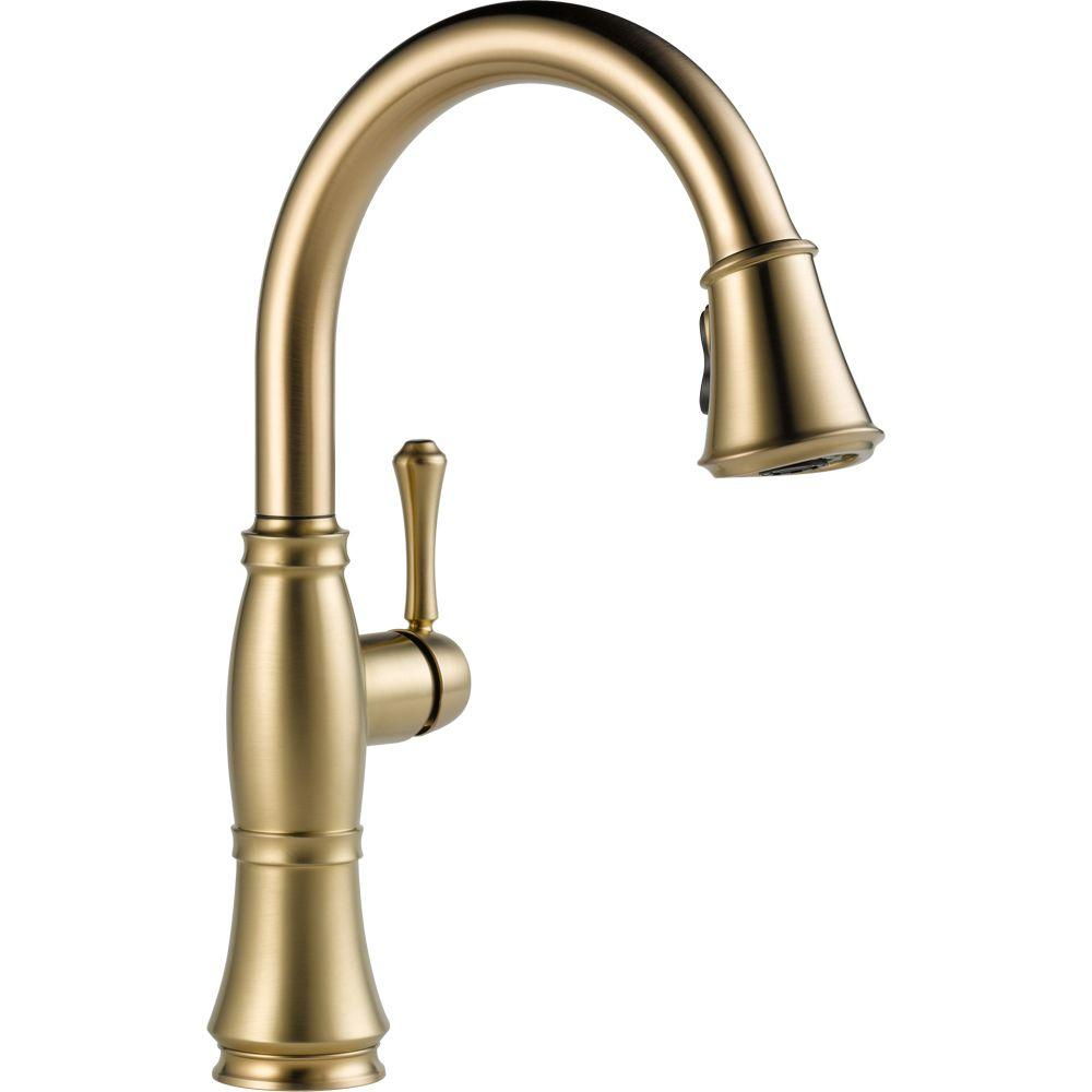 brass faucet kitchen country island delta cassidy single handle pull down sprayer in champagne bronze