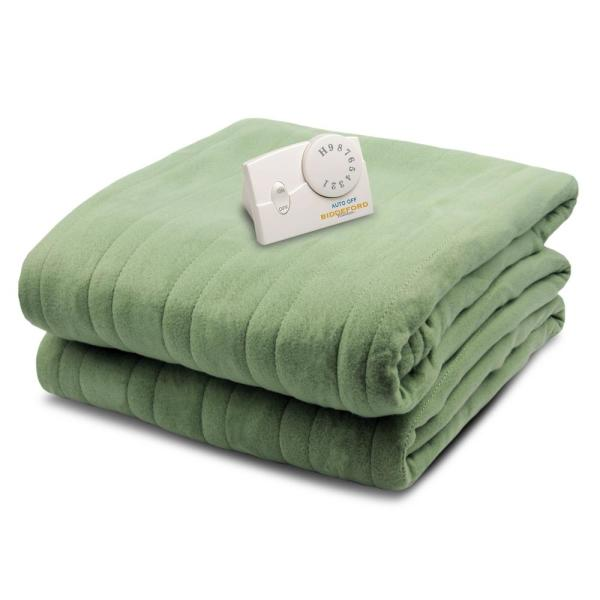 Biddeford Blankets 1000 Series Comfort Knit Heated 62 in. x 84 in. Sage Twin Size Blanket 1000-903192-633 - The Home Depot