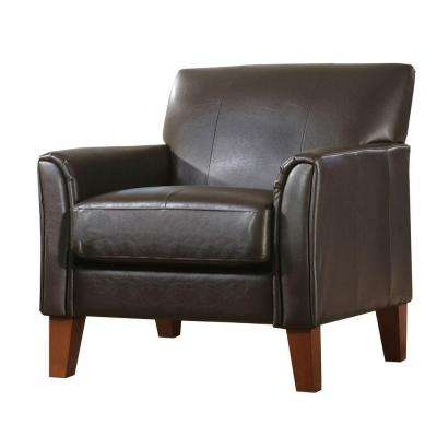 dark brown leather chair mesh office with lumbar support accent chairs the home depot