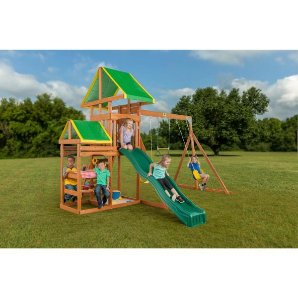 Creative Cedar Design Woodlands Complete Wooden Playset-3681 - Home Depot