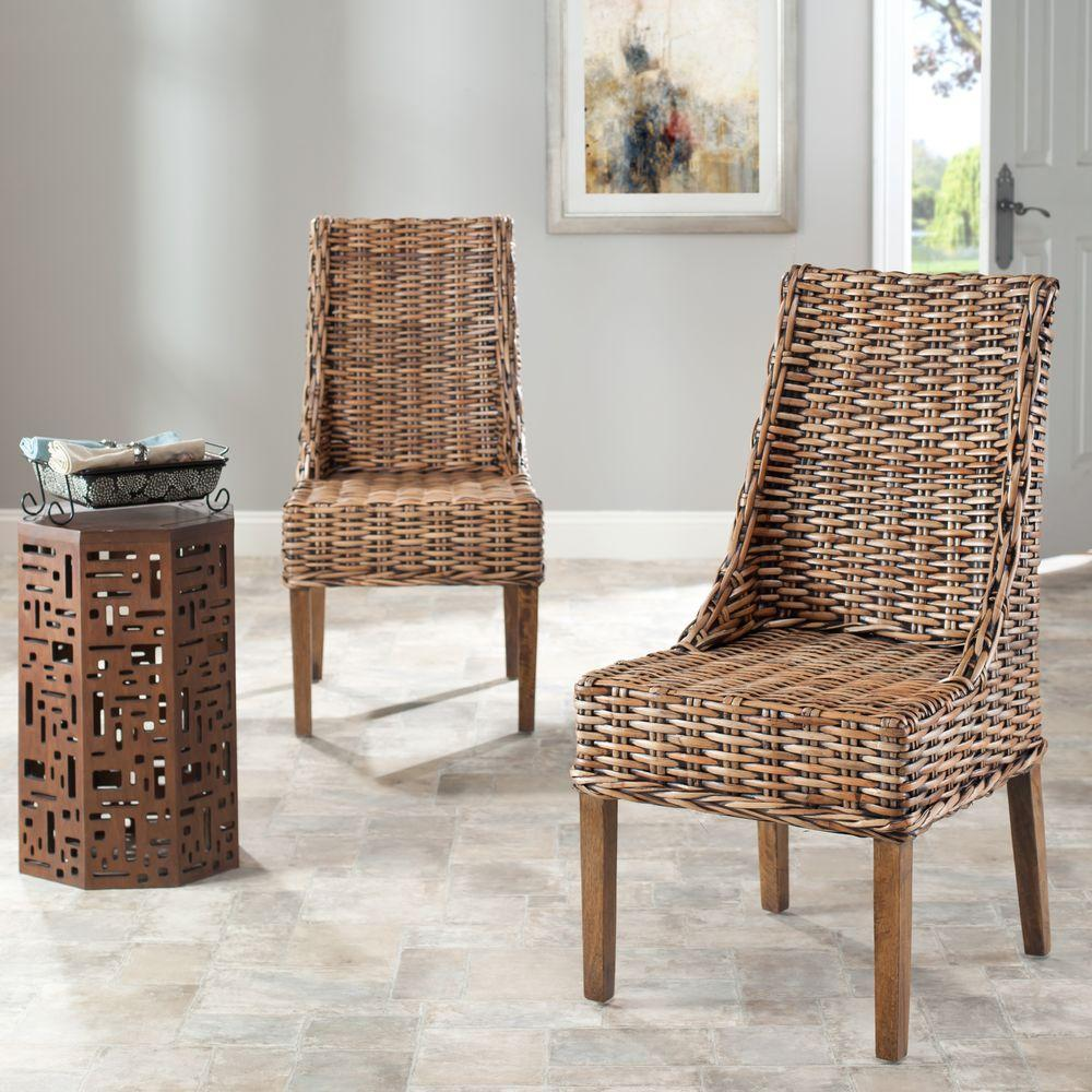 Rattan Accent Chair Safavieh Suncoast Brown Rattan Mango Wood Side Chair Set Of 2
