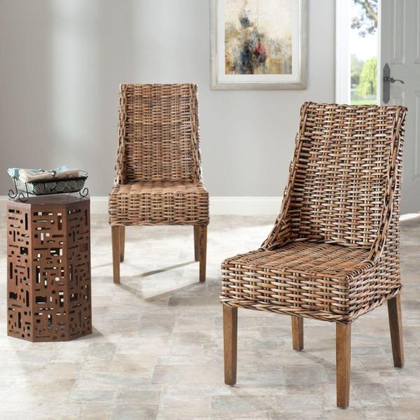 Brown Wicker Dining Room Chairs