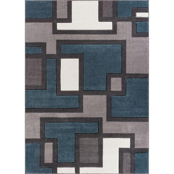 Woven Ruby Imagination Squares Blue 3 Ft. 11 In. X 5