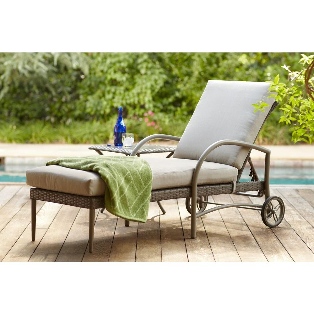 Hampton Bay Posada Patio Chaise Lounge with Gray Cushion