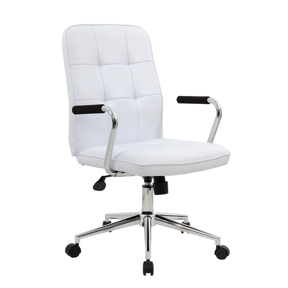 modern white desk chair wheelchair vans for sale near me boss office with chrome arms b331 wt the home depot