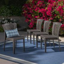 Noble House Dusk Gray Stackable Wicker Outdoor Dining