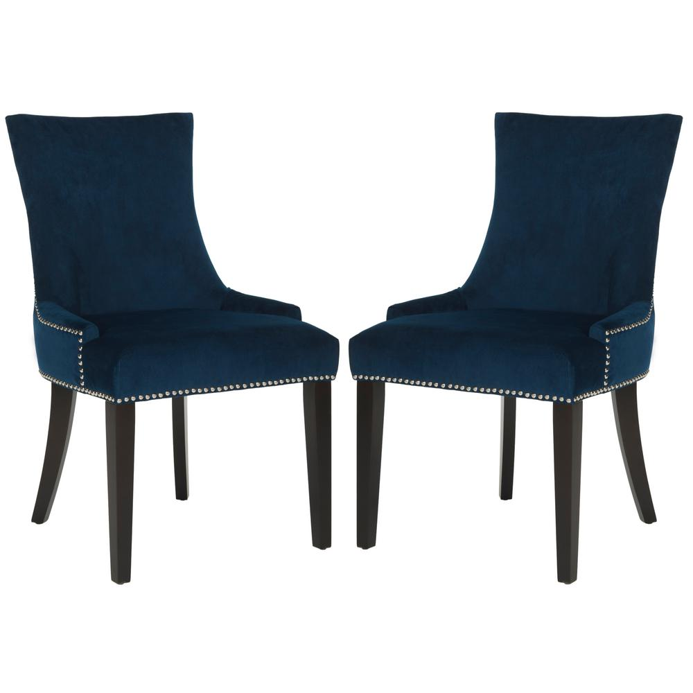 navy blue dining chairs set of 2 swivel chair online india safavieh lester espresso 19 in h mcr4709l set2 the home depot