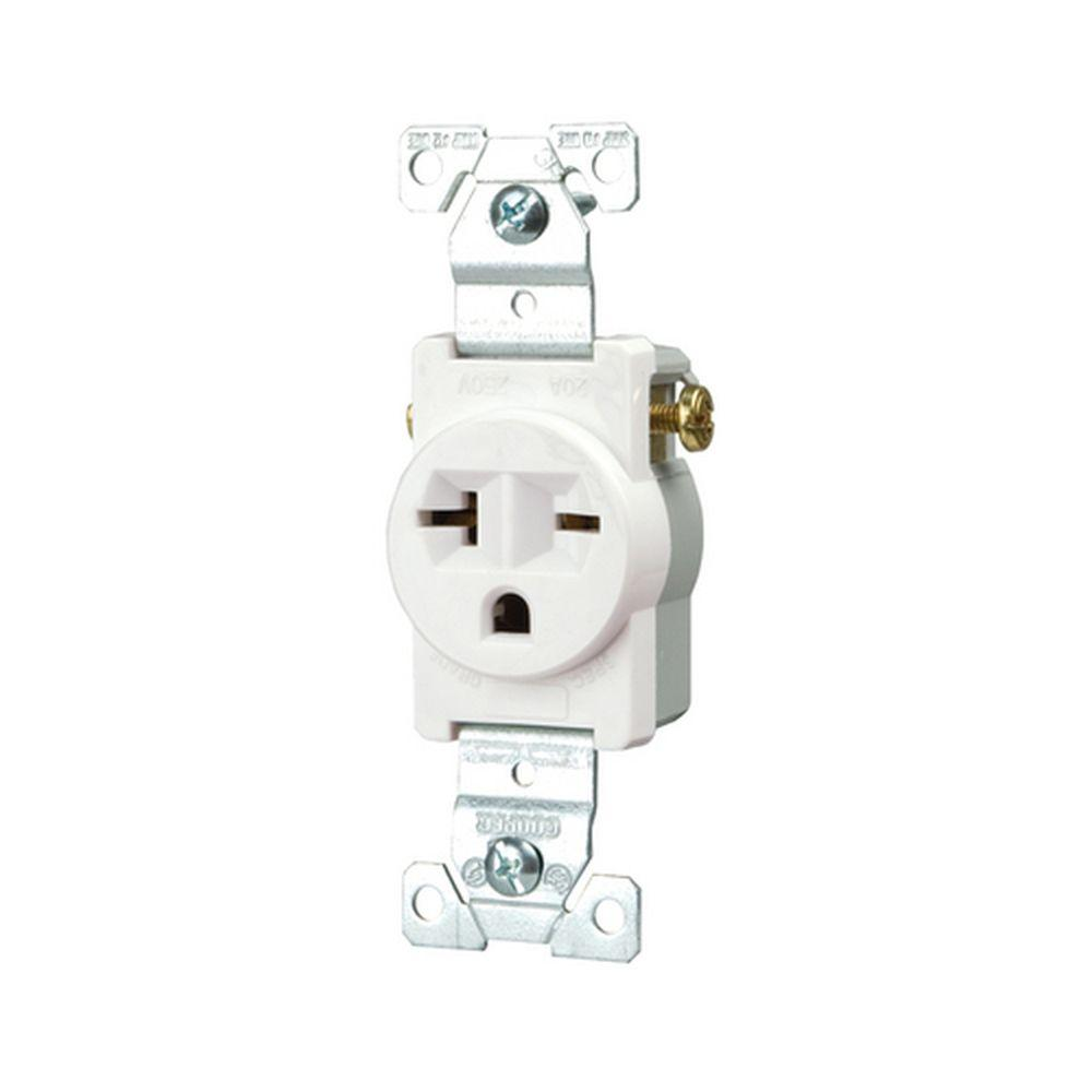 medium resolution of eaton commercial grade 20 amp straight blade single receptacle with side wiring white