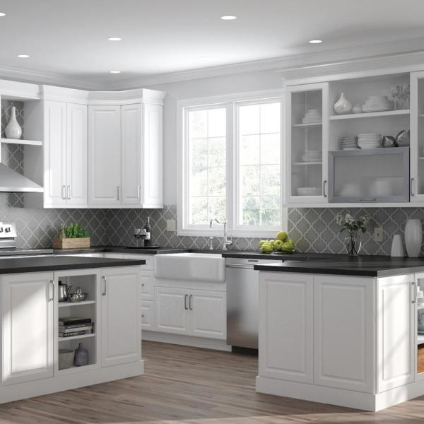 Hampton Bay Designer Series Elgin Assembled 24x36x12 25 In Diagonal Wall Kitchen Cabinet In White Wc2436 Elwh The Home Depot