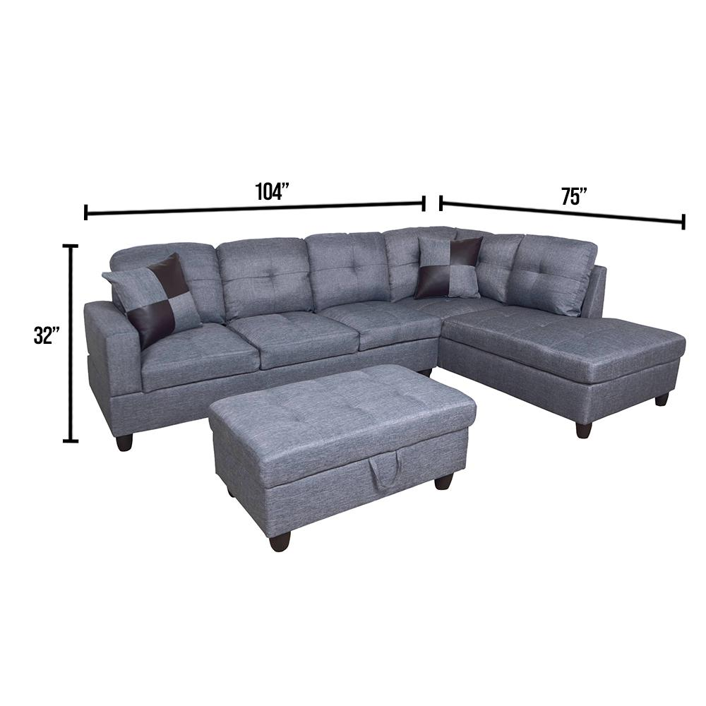 star home living dark gray microfiber 3 seater right facing chaise sectional sofa with ottoman sh128b the home depot