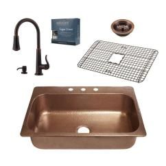 Copper Sink Kitchen Remodle Sinkology Pfister All In One Angelico 33 Drop 3 Hole With Ashfield Pull Down Faucet Rustic Bronze