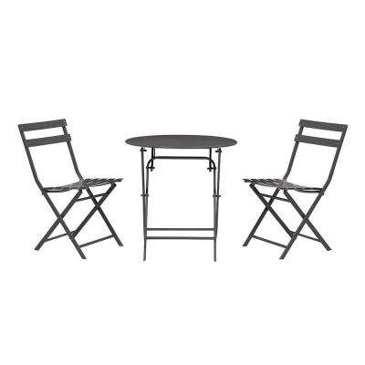 patio bistro table and chairs diy hammock swing chair sets dining furniture the home depot follie black 3 piece outdoor set