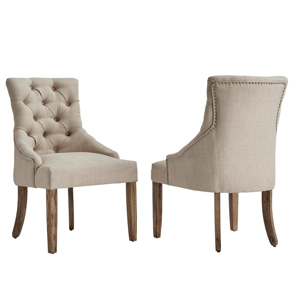 beige dining chairs air filled chair homesullivan marjorie linen button tufted set of 2