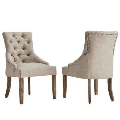 dining chairs kmart furniture parsons chair kitchen room marjorie beige linen button tufted set of 2